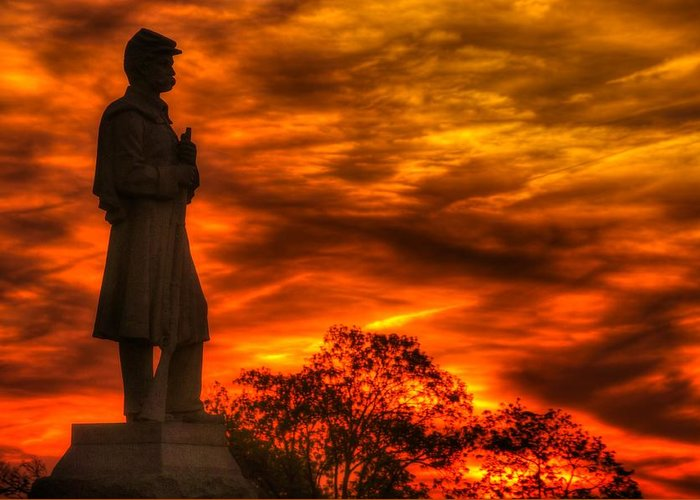 Civil War Greeting Card featuring the photograph Sky Fire - West Virginia At Gettysburg - 7th Wv Volunteer Infantry Vigilance On East Cemetery Hill by Michael Mazaika