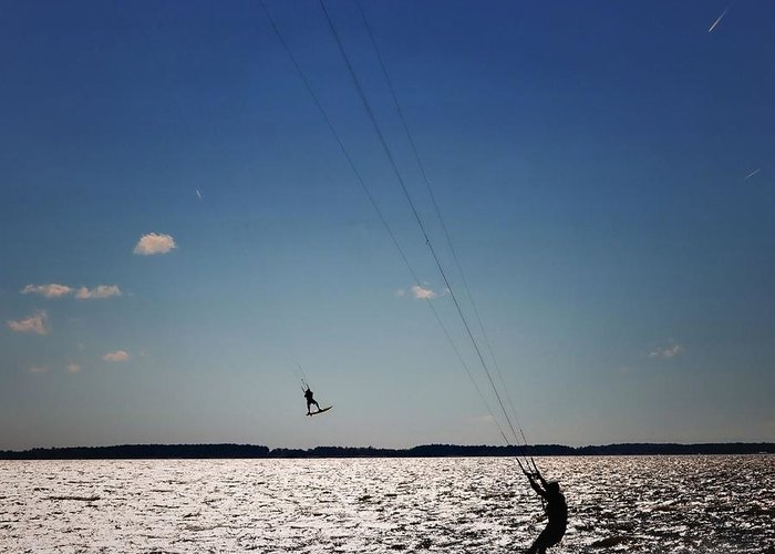 Kiteboarding Greeting Card featuring the photograph Sky Jockey by Robert McCubbin