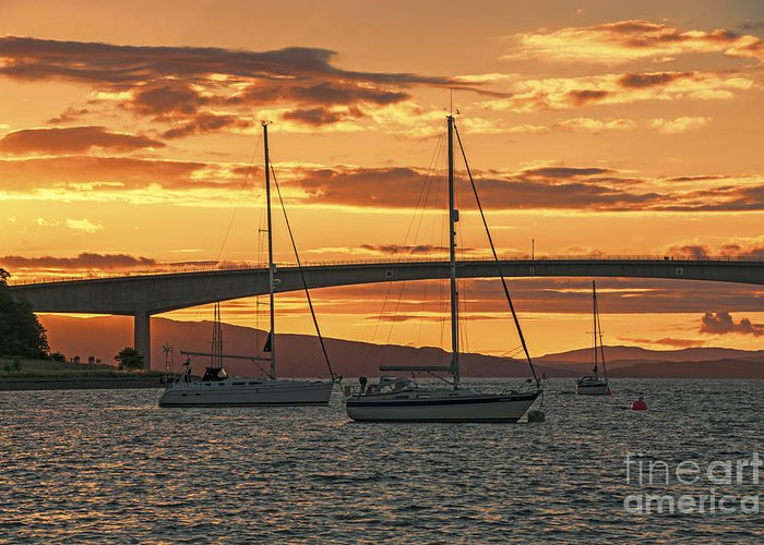 Isle Of Skye Canvas Greeting Card featuring the photograph Skye Bridge Sunset by Chris Thaxter
