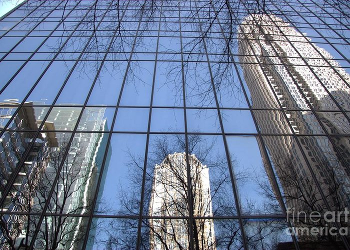 Photography Greeting Card featuring the photograph Skyscraper Reflections - Charlotte Nc by Shelia Kempf