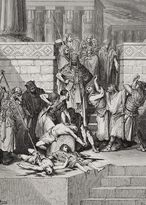 Killing Greeting Card featuring the painting Slaughter Of The Sons Of Zedekiah Before Their Father by Gustave Dore