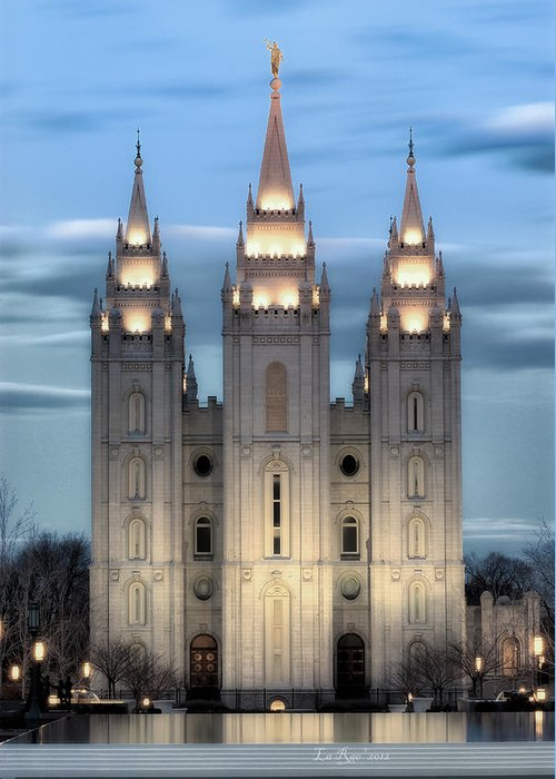 Salt Lake City Temple Photography Greeting Card featuring the photograph Slc Temple Blue by La Rae Roberts