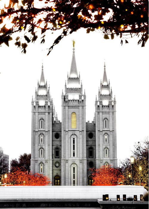 Temple Photograph Greeting Card featuring the photograph Slc White N Red Temple by La Rae Roberts