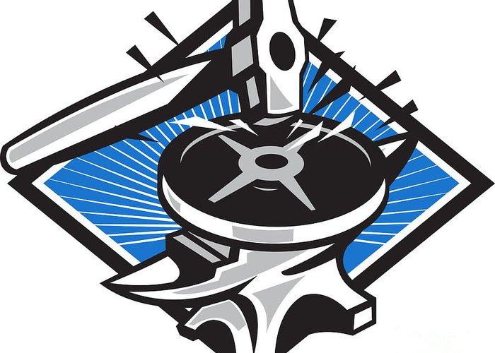 Sledgehammer Greeting Card featuring the digital art Sledgehammer Striking 45lb Weight Anvil Retro by Aloysius Patrimonio