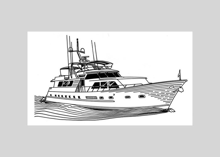 Yacht Portraits Greeting Card featuring the drawing Sleek Motoryacht by Jack Pumphrey