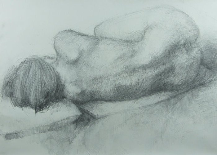Female Greeting Card featuring the drawing Sleep by Cynthia Harvey