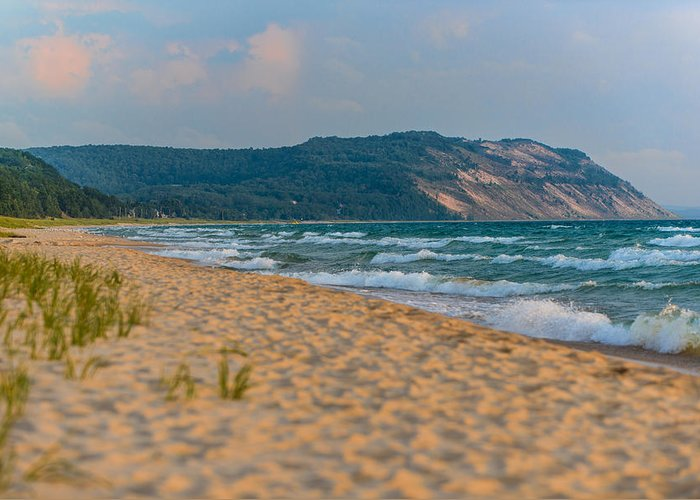 Clouds Greeting Card featuring the photograph Sleeping Bear Dunes At Sunset by Sebastian Musial