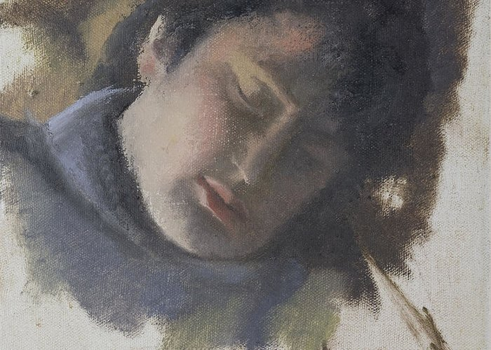 Woman Greeting Card featuring the painting Sleeping Gabi by Sarah Eiger