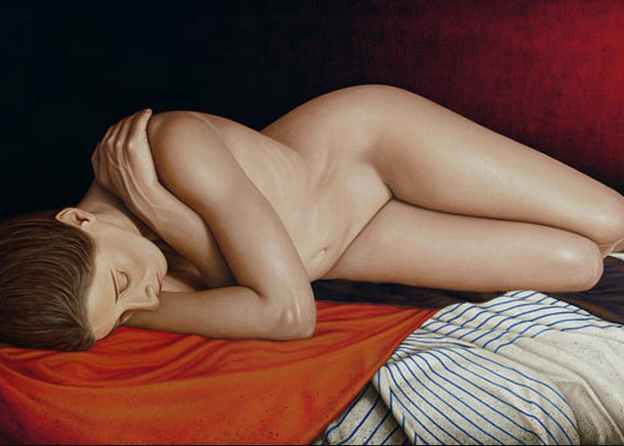 Nude Greeting Card featuring the painting Sleeping Nude by Horacio Cardozo