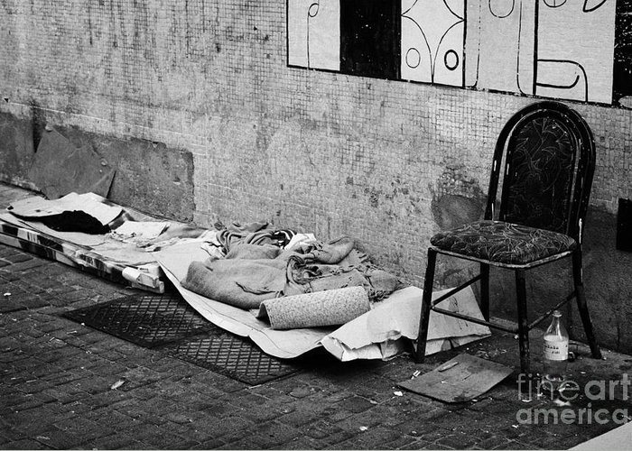 Sleeping Greeting Card featuring the photograph sleeping rough on the streets of Santiago Chile by Joe Fox