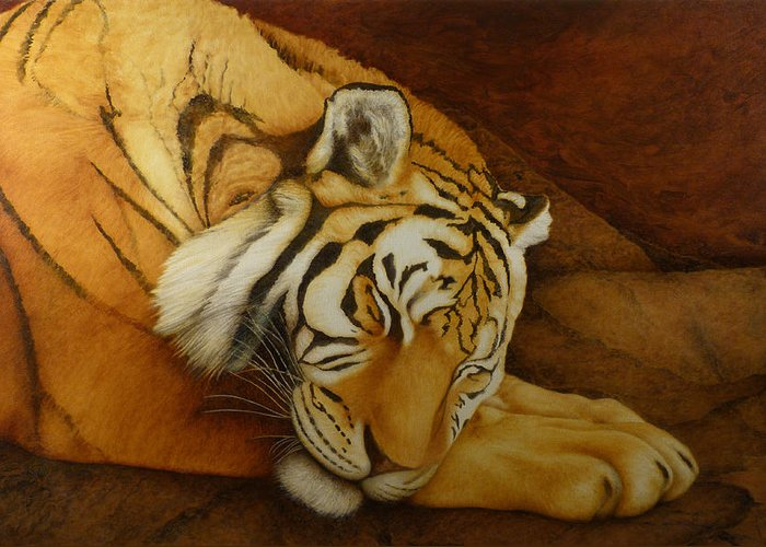 Tiger Greeting Card featuring the painting Sleeping Tiger by Norm Holmberg