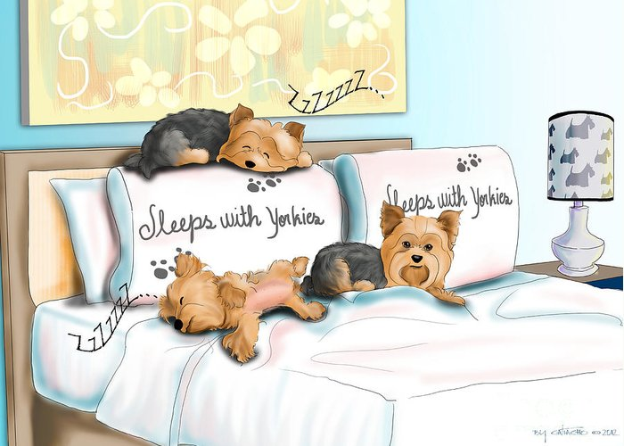 Sleeps Greeting Card featuring the mixed media Sleeps With Yorkies by Catia Cho