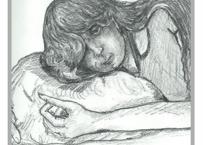 Sleepy Greeting Card featuring the drawing Sleepy Beauty by Joseph Wetzel
