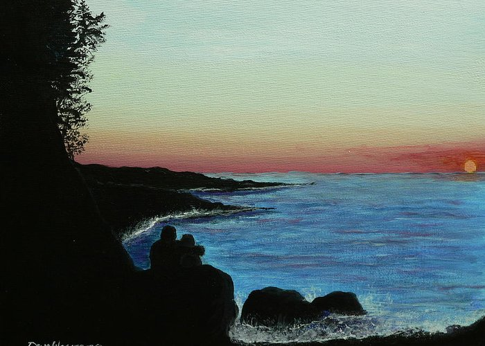 Ocean Greeting Card featuring the painting Sleepy Blue Ocean by Dan Wagner