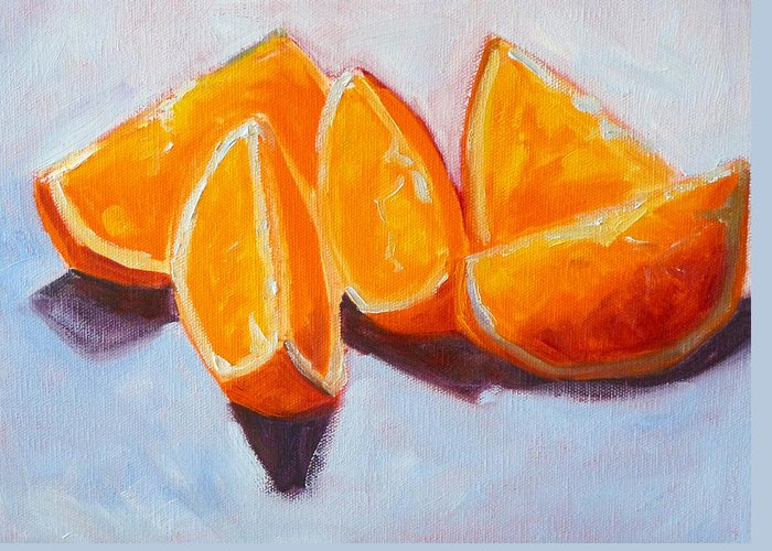 Citrus Greeting Card featuring the painting Sliced by Nancy Merkle