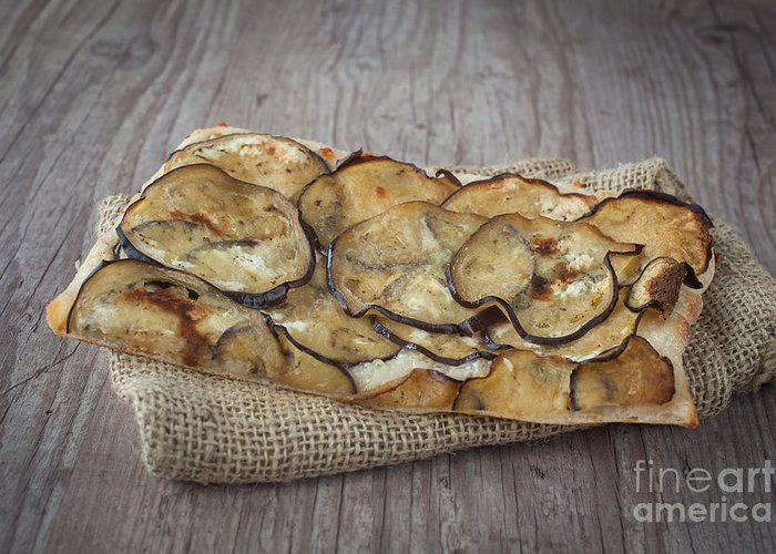 Background Greeting Card featuring the photograph Sliced Pizza With Eggplants by Sabino Parente