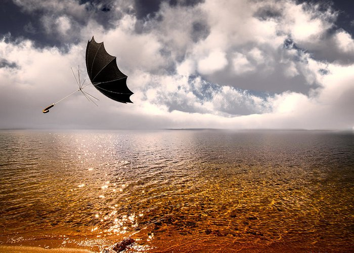Umbrella Greeting Card featuring the photograph Slight Chance Of A Breeze by Bob Orsillo