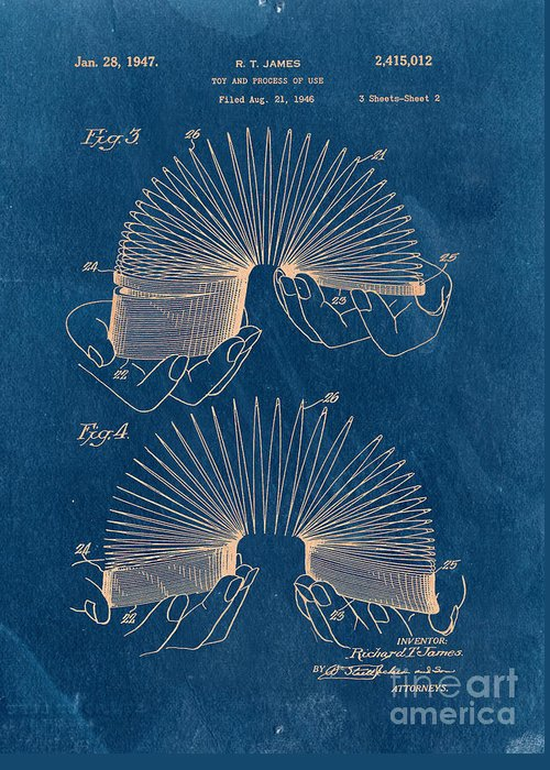 Slinky Greeting Card featuring the drawing Slinky Toy Blueprint by Edward Fielding