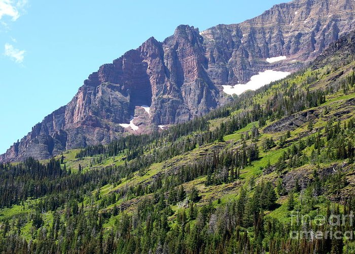 Glacier Greeting Card featuring the photograph Sloping Mountain At Two Medicine Lake by Carol Groenen