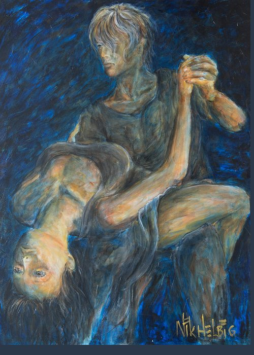 Slow Dancing Greeting Card featuring the painting Slow Dancing V by Nik Helbig