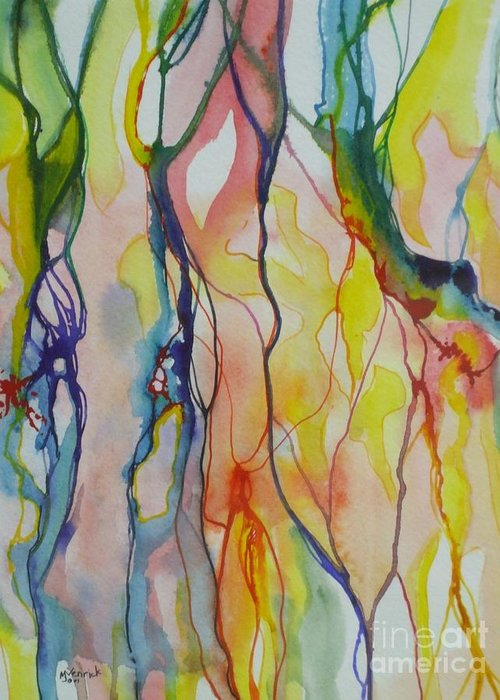 Abstract Greeting Card featuring the painting Slumber by M J Venrick