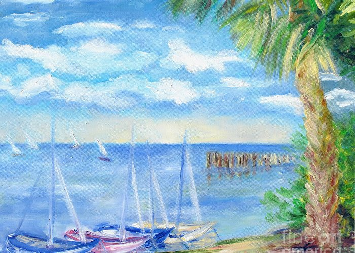 Boat Scene Greeting Card featuring the painting Small Boats On Water by Barbara Anna Knauf