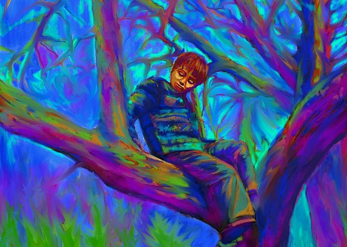 Tree Greeting Card featuring the painting Small Boy In Large Tree by Hidden Mountain