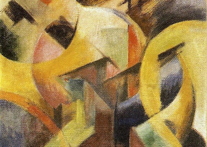 Franz Greeting Card featuring the painting Small Composition 1913 by Franz Marc