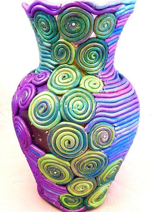 Art Mixed Media Greeting Card featuring the ceramic art Small Filigree Vase by Alene Sirott-Cope