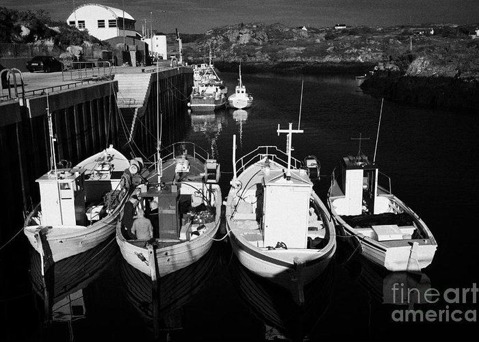 County Greeting Card featuring the photograph small fishing boats in bunbeg harbour county Donegal Republic of Ireland by Joe Fox