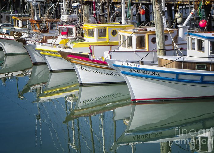 Fishing Greeting Card featuring the photograph Small Fishing Boats Of San Francisco by George Oze