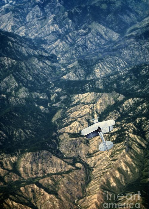 Plane Greeting Card featuring the photograph Small Plane Flying Over Mountains by Jill Battaglia
