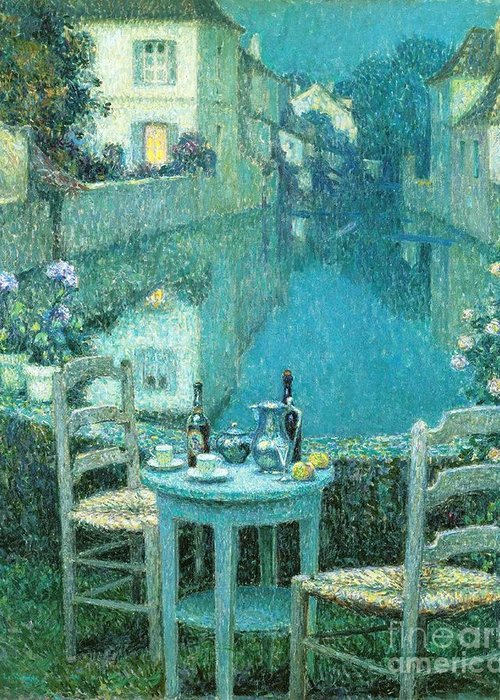 Pd Greeting Card featuring the painting Small Table In Evening Dusk by Pg Reproductions