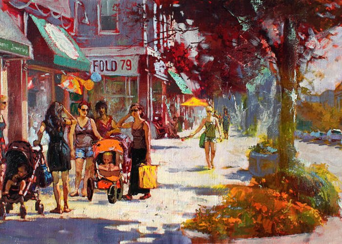 Landscape Greeting Card featuring the painting Small Talk In Elmwood Ave by Ylli Haruni