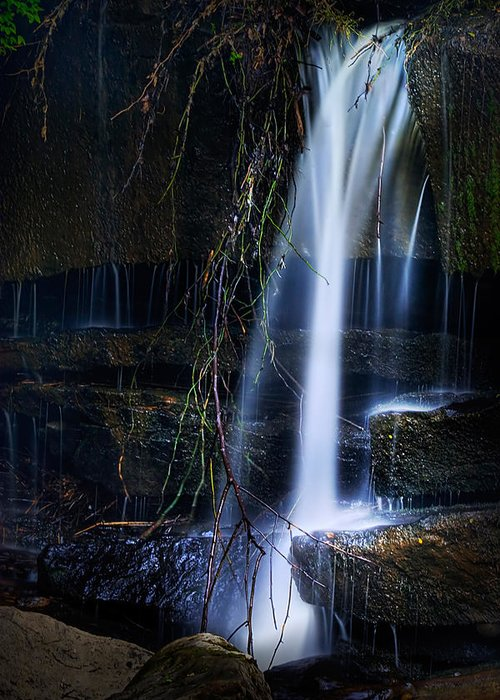 Waterfall Greeting Card featuring the photograph Small Waterfall by Tom Mc Nemar