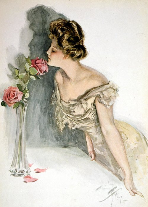 Harrison Fisher Greeting Card featuring the digital art Smelling The Roses by Harrison Fisher