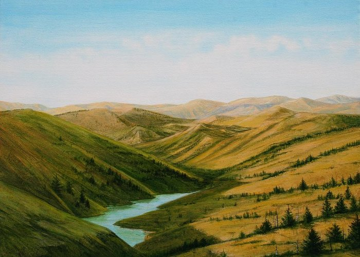 High Plains Landscape Greeting Card featuring the painting Smiley Canyon Wash by J W Kelly