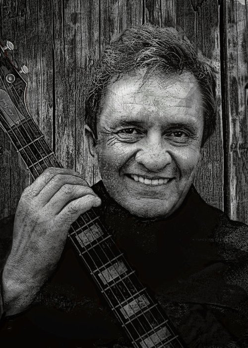 johnny Cash Greeting Card featuring the digital art Smiling Johnny Cash by Daniel Hagerman