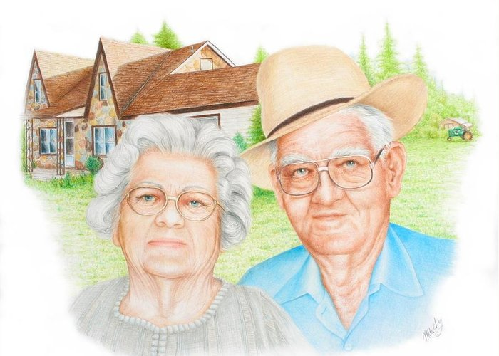 Old Home Place Drawings Greeting Cards