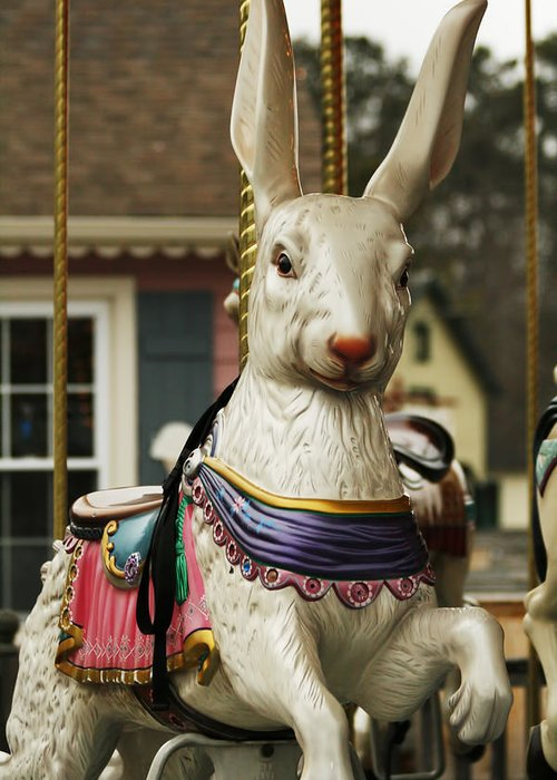 Carousel Greeting Card featuring the photograph Smithville Carousel Rabbit by Kristia Adams