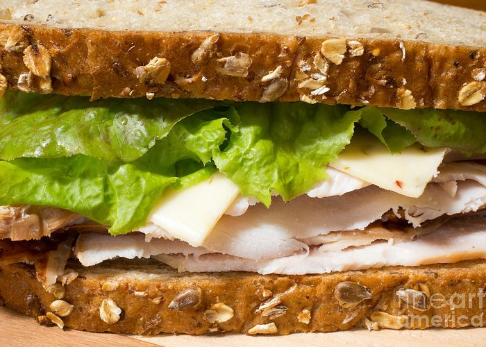 Food Greeting Card featuring the photograph Smoked Turkey Sandwich by Edward Fielding