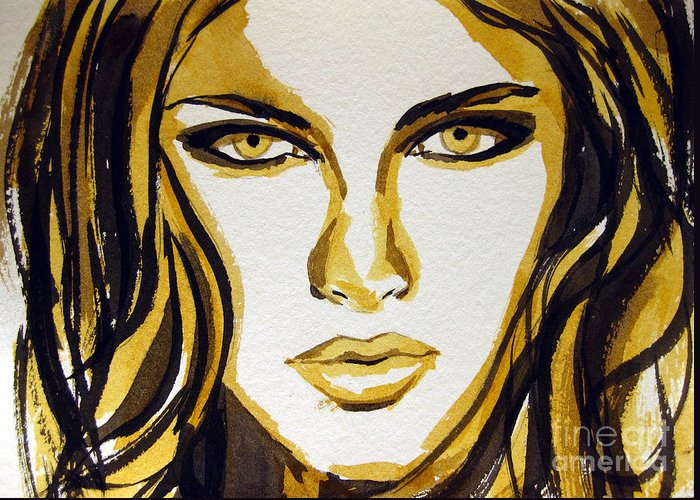 Woman Greeting Card featuring the painting Smokey Eyes Woman Portrait by Patricia Awapara
