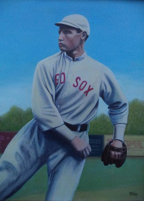 Red Sox Greeting Card featuring the painting Smokey Joe Wood by Mark Haley
