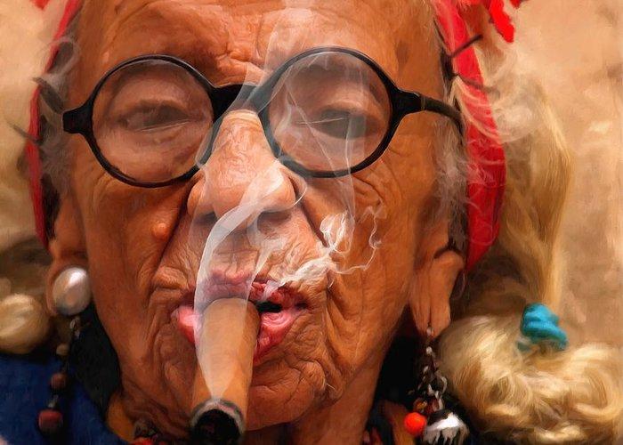 Smoking Greeting Card featuring the digital art Smoking - Caribbean Serie by Gabriel T Toro