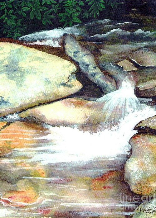 Fine Art Greeting Card featuring the painting Smoky Mountains Waterfall by Patricia Griffin Brett