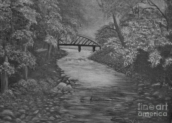 Pencil .trees Rocks Greeting Card featuring the painting Smoky S by Vickie Brooks