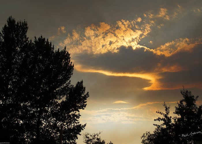 Smoke Greeting Card featuring the photograph Smoky Summer Afternoon Sky by Mick Anderson