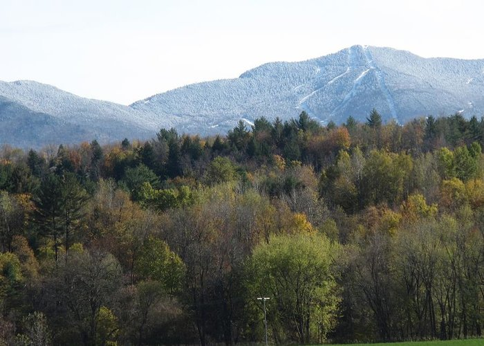 Mountain Greeting Card featuring the photograph Smugglers Notch From Cambridge Vermont by Barbara McDevitt