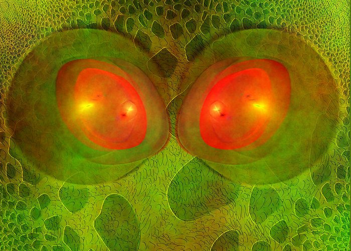 Snake Greeting Card featuring the digital art Snake Eyes by Diane Parnell