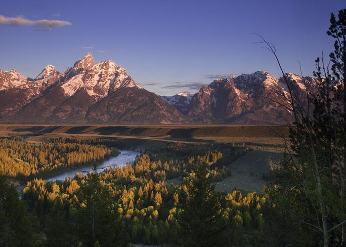 Grand Teton Greeting Card featuring the photograph Snake River Panorama by Andrew Soundarajan